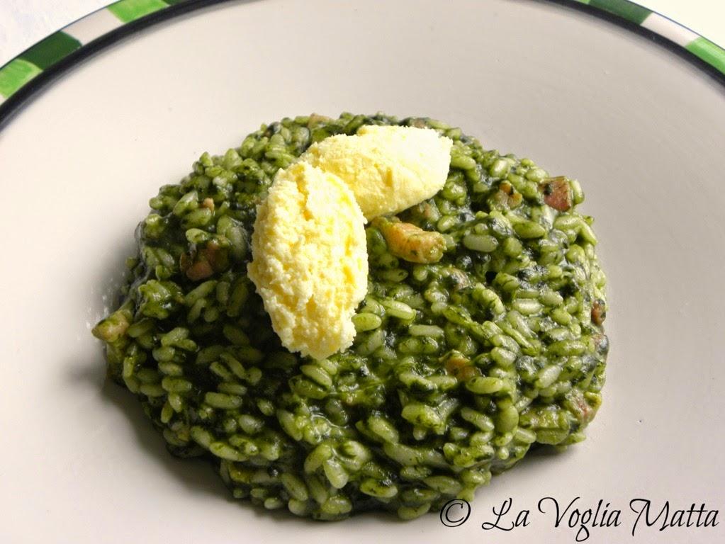 risotto agli spinaci e pancetta con formaggio kajmak
