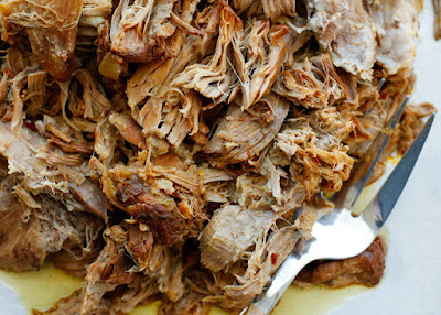 Instant Pot or Slow Cooker Sweet and Tangy Pulled Pork from Barefeet in the Kitchen featured on SlowCookerFromScratch.com