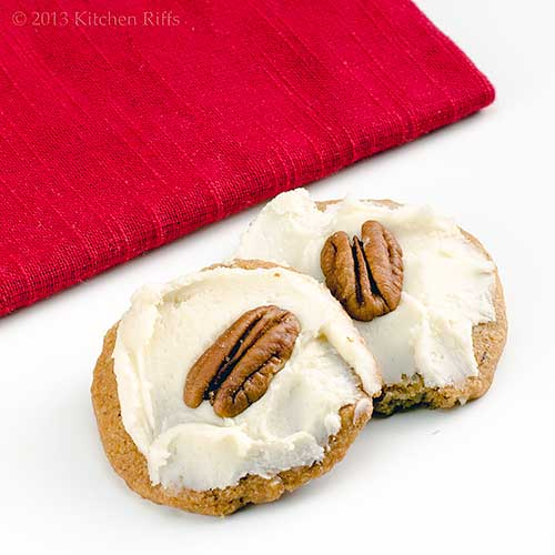 Rum-Frosted Pecan Shortbread Cookies