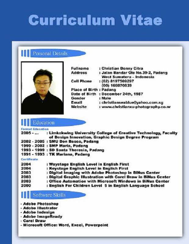Format Cv Yang Baik Dalam Bahasa Inggris Cv Form In English Doc