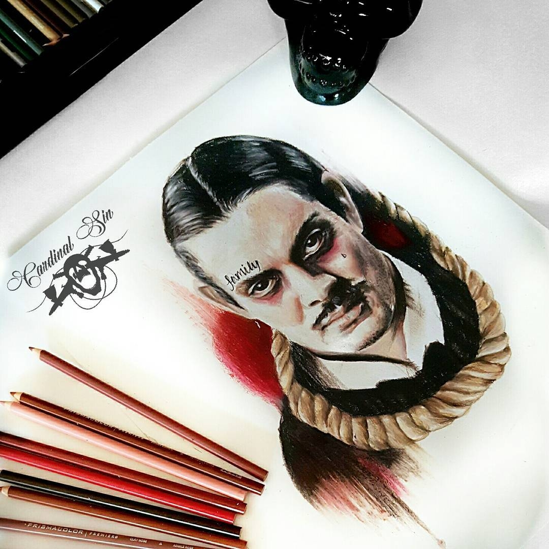 02-Gomez-Addams-Family-Courtney-Georghiou-Art-Drawn-and-Airbrushed-and-Painted-in-an-Eclectic-Mix-www-designstack-co