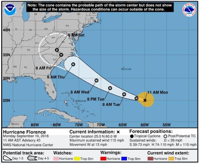 Huracán Florence en Trayecto hacia Carolina del Norte