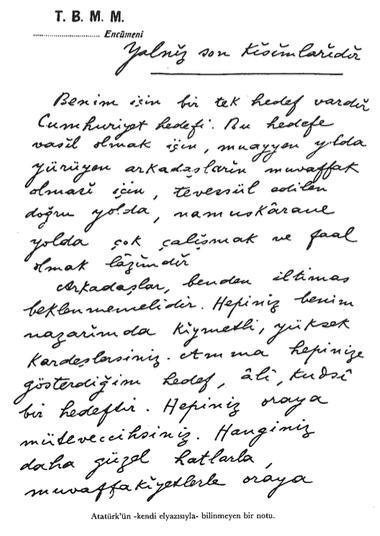 Atatürk'ün Bilinmeyen Bir Notu