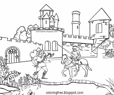 Wide moat water defense Middle Ages large fort medieval coloring castle drawing ideas for teenagers
