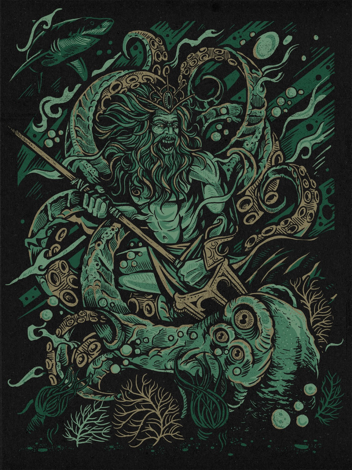 INSIDE THE ROCK POSTER FRAME BLOG: Kraken Battle Print by Derrick ...