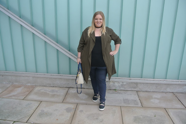 Plus Size Khaki Duster Jacket Coat Image