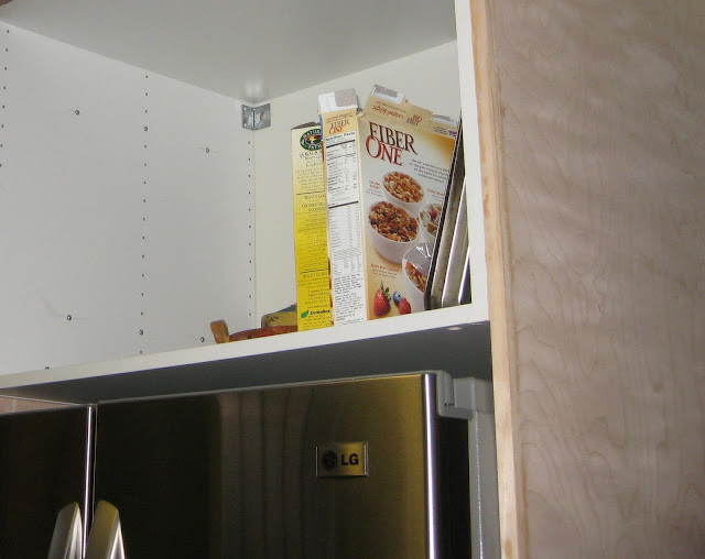 LG french door fridge being enclosed with a diy project