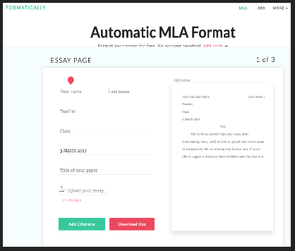 mla format template website