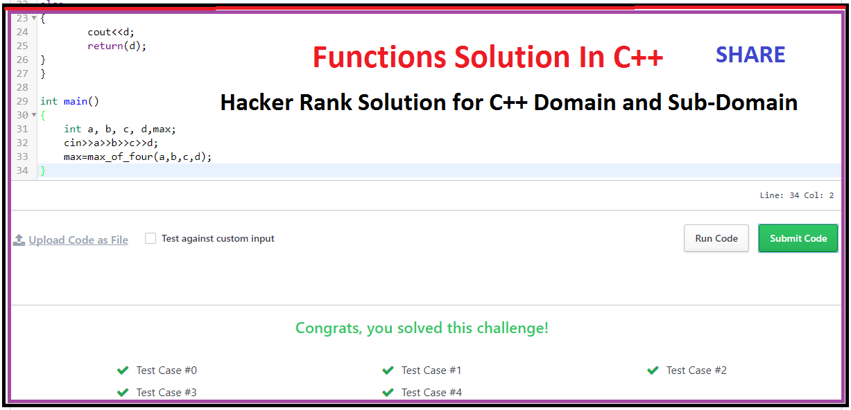 Hacker Rank solution for Functions