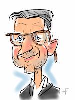 iPad karikatuur tekening van man met bril
