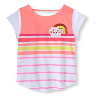 Áo thun bé gái, nhãn 365 kids, hàng gia công tại vn, chất thun, 2 Màu cam và xanh sọc như hình.