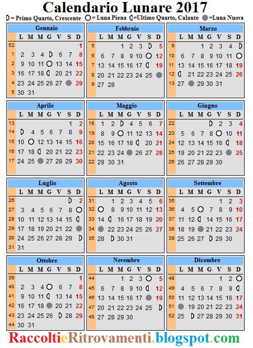 Calendario Lunare Dicembre 2017.Raccolti E Ritrovamenti Calendario Lunare 2017