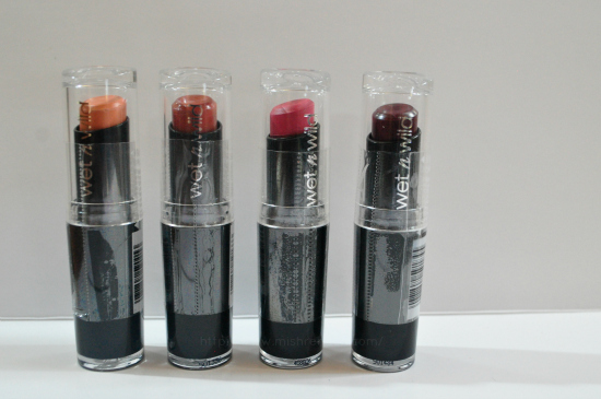 Wet and Wild Megalast Lip Color Review and Swatches Pink Suga 900B, Sandstorm 913C, Wine Room 906D, Cherry Bomb 918D