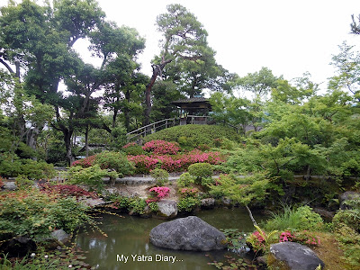A view of the Pond garden at the Yoshikien garden in Nara, Japan