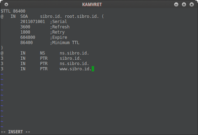 Kemudian kita juga membuat file zona reverse di /etc/db.192 dan tambahkan script konfigurasi di bawah ini ke db.192 dan edit sesuai topologi jaringan anda