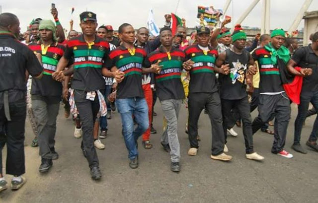 IPOB members during a demonstration as Catholic Bishop berates call for elections boycott