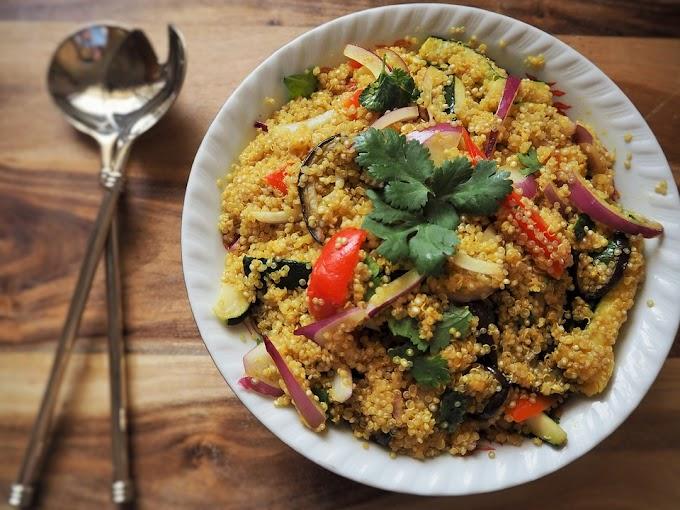 Ensalada de quinoa y parrillada de verduras