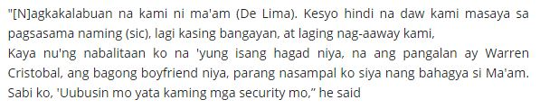 "Dayan Slapped De Lima When He Found Out About Her New Boyfriend! ""Uubusin mo yata kaming mga security mo."""