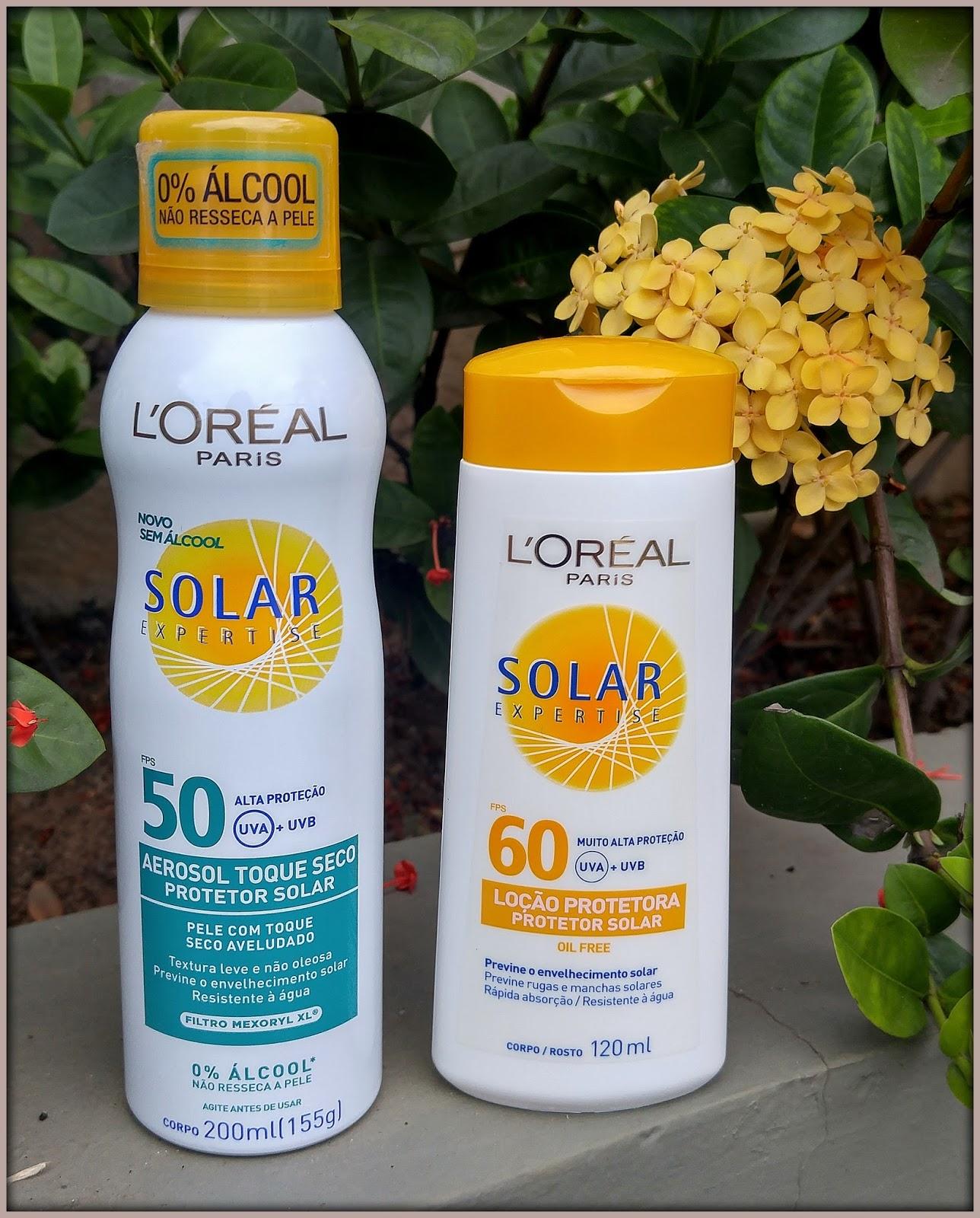Para o corpo, tenho usado o Protetor Solar L Oréal Solar Expertise Toque  Seco FPS 50 Aerosol e o Protetor Solar L Oréal Expertise Avançado FPS 60  Loção Oil ... 5717f6b53b