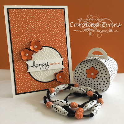 Carolina Evans Stampin' Up! Tangelo Twist Stampin Friends Blog Hop, Paper Beads