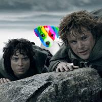 El perro arcoíris sonríe en Cice visto en Mordor con Frodo y Sam