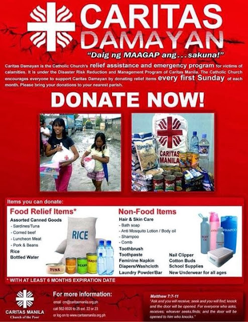 Caritas Manila poster for donation