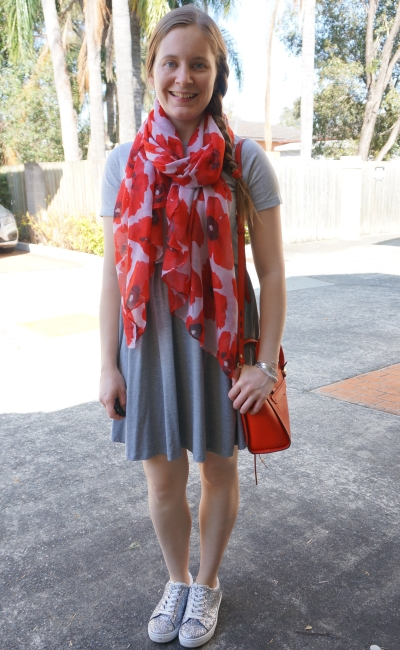 gray skater dress ASOS with silver glitter sneakers red accessories Avery bag and poppy scarf | awayfromblue