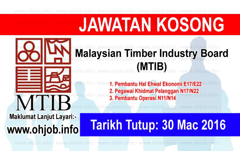 Jawatan Kerja Kosong Malaysian Timber Industry Board (MTIB) logo www.ohjob.info mac 2016