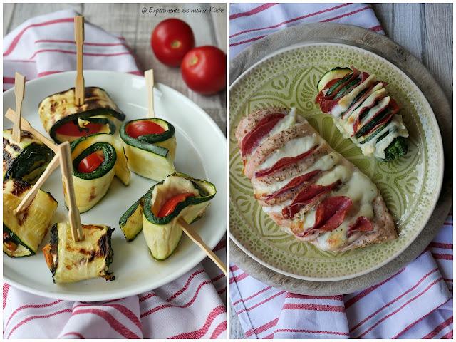 Dreierlei vom Grill | Gegrillte Zucchiniröllchen | Hähnchenfächer Pizzastyle | Hasselback Zucchini