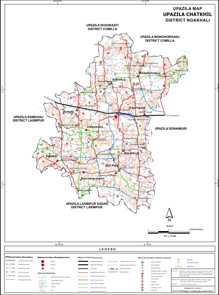 Chatkhil Upazila Map Noakhali District Bangladesh