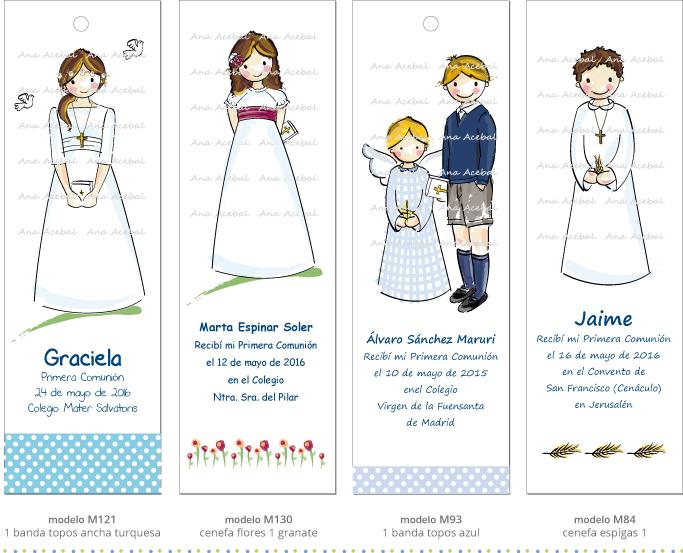 Recordatorios marcapaginas puntos libro comunion personalizados originales
