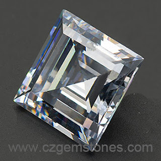 square step cut white cubic zirconia diamond
