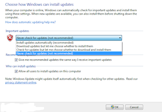 Cara Mematikan / Menonaktifkan Windows Update pada Windows 7