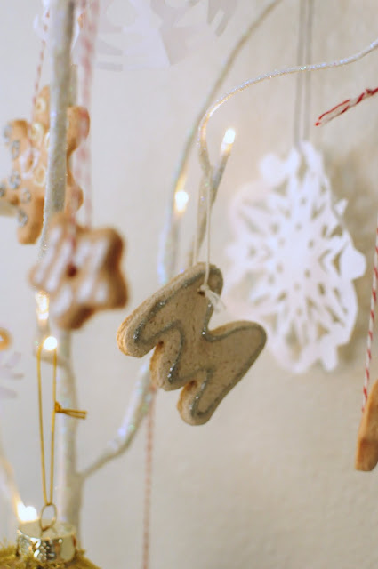 Homemade Christmas ornaments made with salt and flour