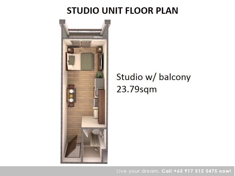 Floor Plan of Studio With Balcony 23.79 Sqm - Camella Condo Homes Taguig | Condo for Sale Taguig City