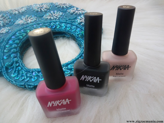 Nykaa Matte Nail Paints (Pink Meringue, Black sesame Pudding & Strawberry shortcake)  Review
