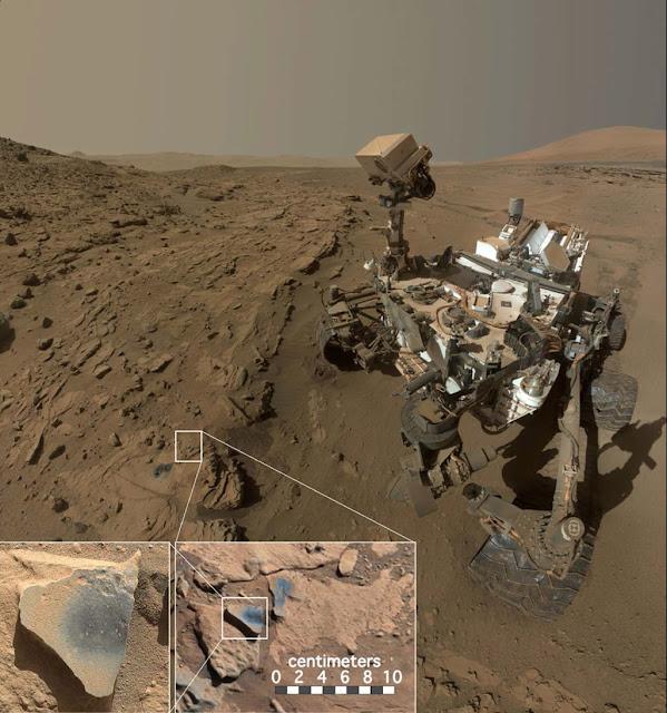 Hình ảnh cho thấy tàu tự hành Curiosity của NASA đang ở một địa điểm được gọi là Windjana, nơi nó tìm thấy đá chứa khoáng chất mangan oxid, loại hợp chất cần nhiều oxy để tạo thành. Credit: NASA/JPL-Caltech/MSSS.