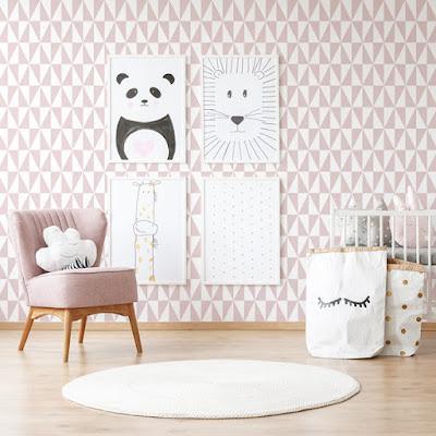 papel pintado infantil geometrico rosa 994