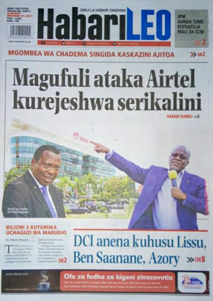 Today S News Tanzania Newspapers Thursday December