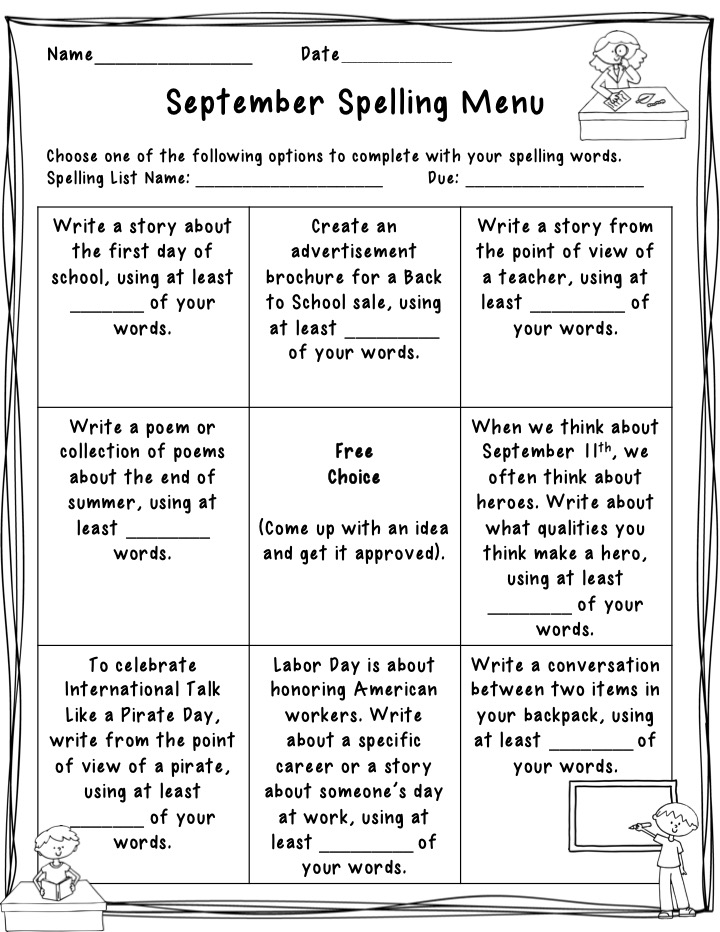 The Idea Backpack Vocabulary and Spelling Menu for September - Freebie