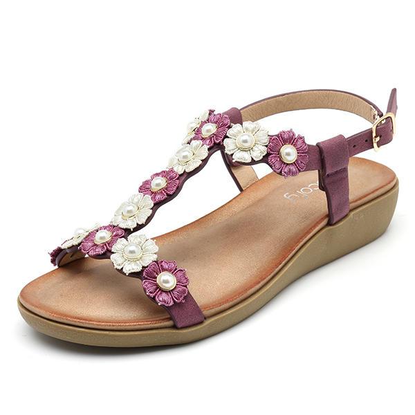 SOCOFY Flowers Bohemian Soft Flat Clip Toe Beach Slippers