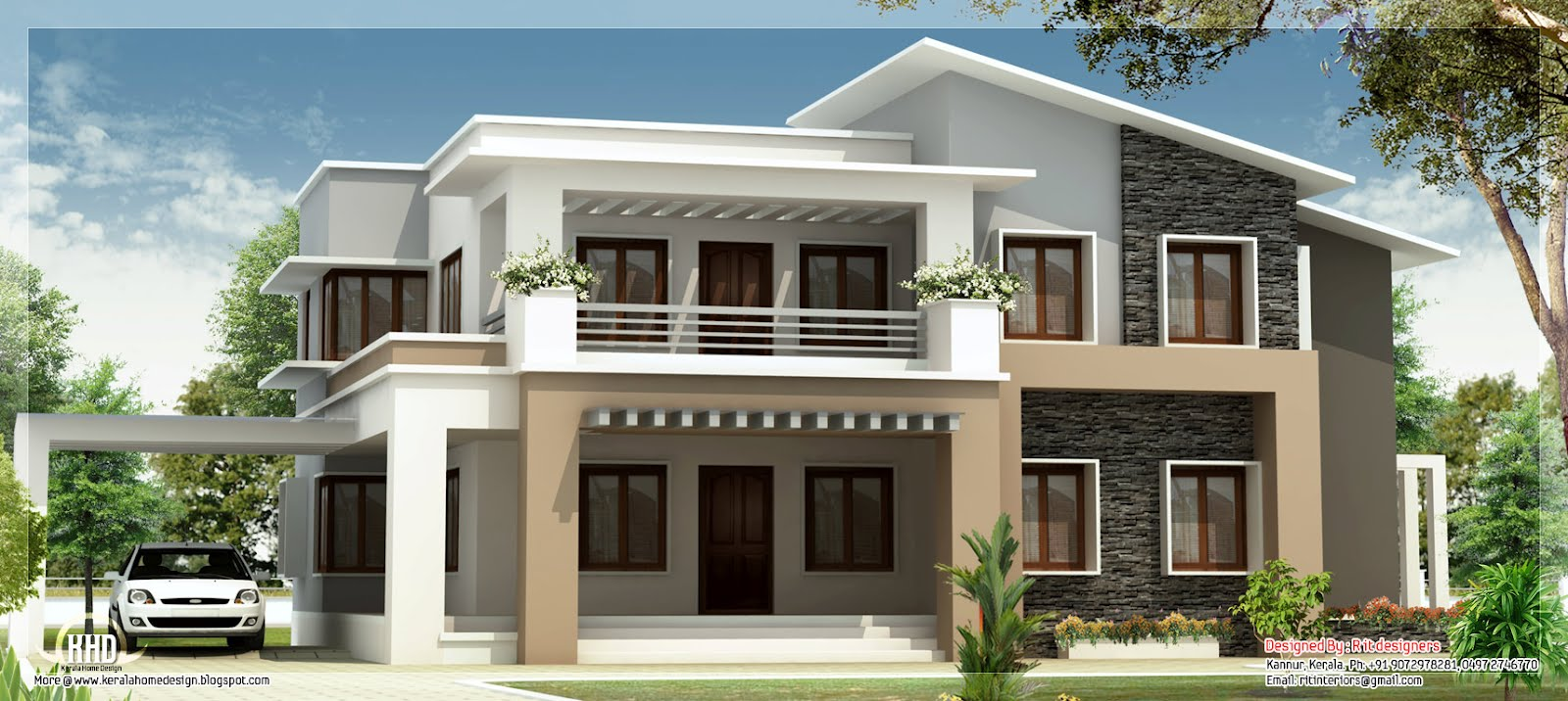 Modern mix double floor home design kerala home design for 1 5 floor house plans