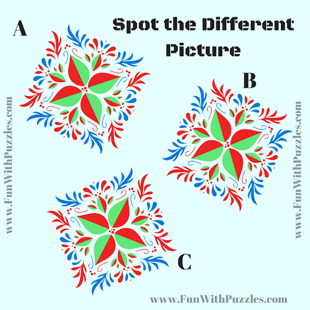 This is tough odd one out picture puzzle in which your challenge is to find the different picture out of given three pictures