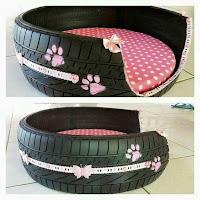 Camas para perros hechas con neumáticos reciclados