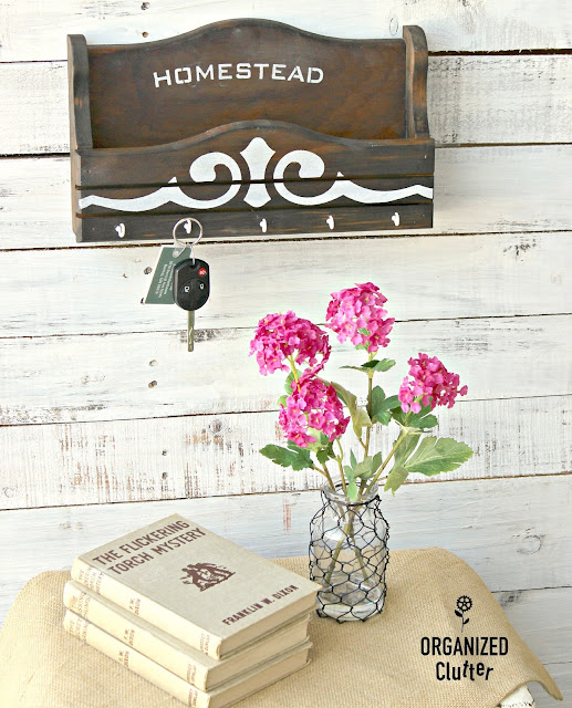 Upcycled Thrift Shop Key/Mail Holder #oldsignstencils #stencil #varathaneweatheredwoodaccelerator