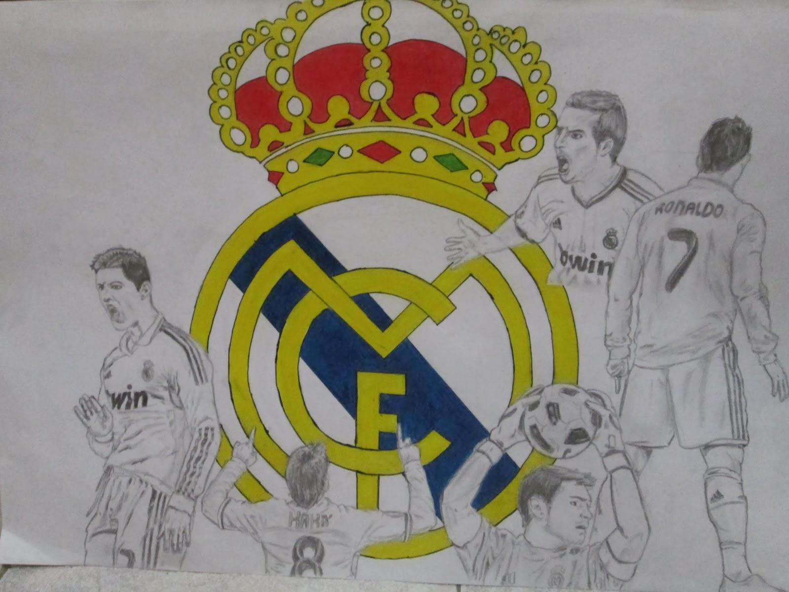 Dibujos Del Real Madrid Para Imprimir Y Colorear: Dibujos Del Real Madrid A Lapiz