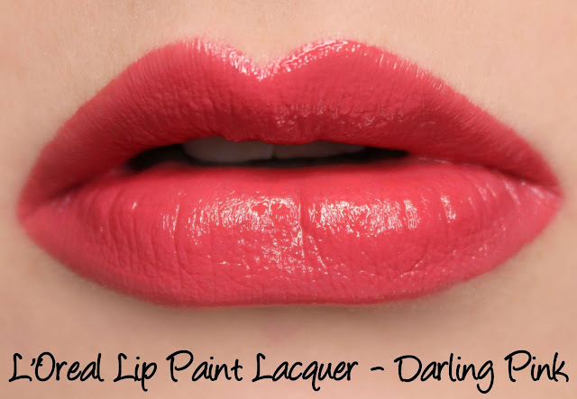 L'Oreal Lip Paint Lacquer - Darling Pink Swatches & Review