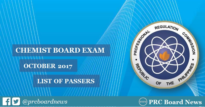 OFFICIAL RESULTS October 2017 Chemist Board Exam List Of Passers