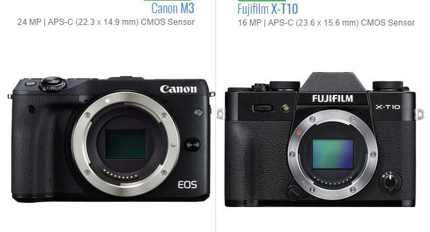 máy ảnh Fujifiml X-A10 và Canon EOS M3