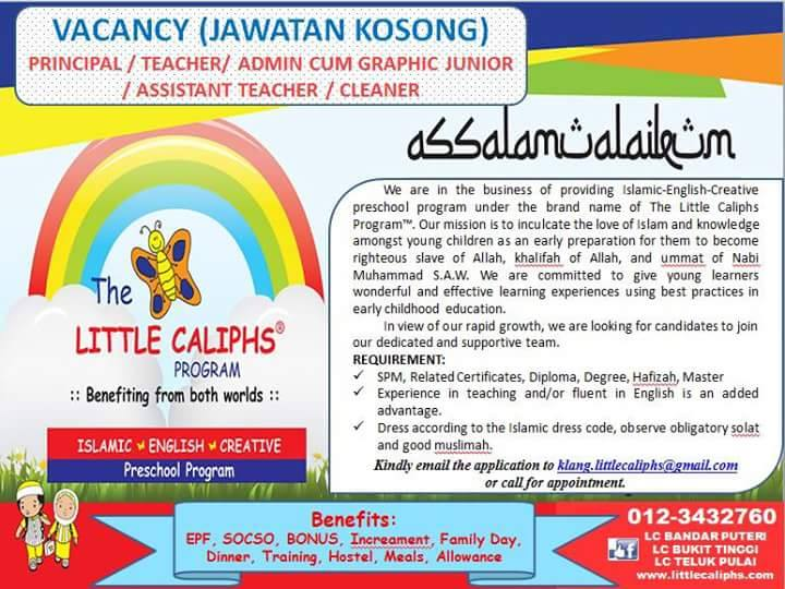 Jawatan Kosong @ The Little Calliphs Program